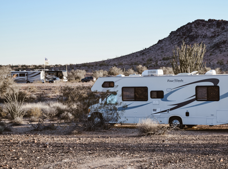 Camping in BLM outside of Quartzsite in our RV